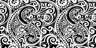 Seamless ethnic ornament. Polynesian ethnic pattern. Can be used as tattoo or seamless ornament Stock Photos