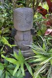 Polynesian female figurine wooden carving sculptur in a tropical. Polynesian female figurine wooden carving sculpture.Most of Cook Islands original wood carvings Stock Photography