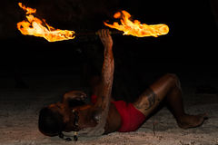 Polynesian fire dancer Stock Photography