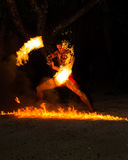Polynesian fire dancer Stock Photos