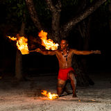 Polynesian fire dancer Stock Image
