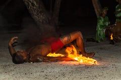 Polynesian fire dancer Royalty Free Stock Photos