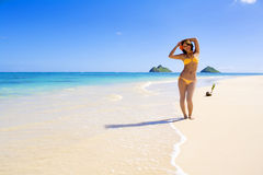 Polynesian girl in  bikini in Hawaii Royalty Free Stock Photo