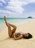 Polynesian girl in a black bikini Royalty Free Stock Photo