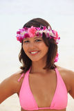 Polynesian girl with flower lei Stock Photos