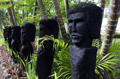 Polynesian human figures sculptures Royalty Free Stock Image