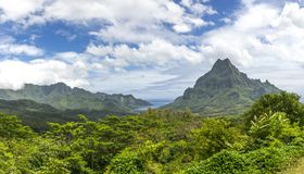 Polynesian Landscape. Rugged, mountainous landscape of Moorea in French Polynesia Royalty Free Stock Photography