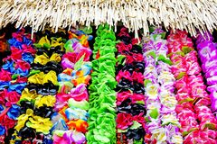 Polynesian Lei garland of flowers in Rarotonga Cook Islands stock photography