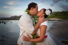Newlywed Kiss Stock Images
