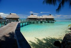 Polynesian overwater bungalows. Moorea, French Polynesia Royalty Free Stock Images
