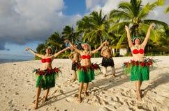 Polynesian Pacific Island Tahitian Dance Group Stock Photos