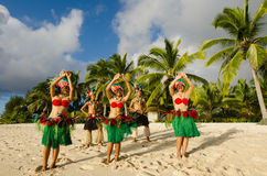 Polynesian Pacific Island Tahitian Dance Group Stock Photo