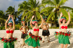 Polynesian Pacific Island Tahitian Dance Group. Group portrait of Polynesian Pacific Island Tahitian dance group in colorful costumes dancing on tropical beach Royalty Free Stock Photos
