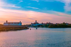 Free Polynesian Resort Cabins And Disney`s Grand Floridian Resort & Spa On Colorful Sunset Background At Walt Disney World  3 Stock Photography - 146100272