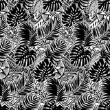 Polynesian style with leaves and tribal background. Vector seamless pattern in black and white vector illustration