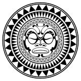 Polynesian tattoo design mask. Frightening masks in the Polynesian native ornament. Isolated on white, vector illustration Stock Photo