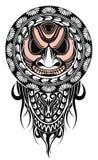 Polynesian tattoo design mask. Frightening masks in the Polynesian native ornament stock photo