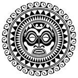 Polynesian tattoo design mask. Frightening masks in the Polynesian native ornament. Isolated on white, vector illustration Stock Image