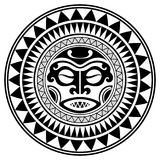 Polynesian tattoo design mask. Frightening masks in the Polynesian native ornament. Isolated on white, vector illustration Stock Photos
