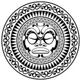 Polynesian tattoo design mask. Frightening masks in the Polynesian native ornament. Isolated on white, vector illustration Royalty Free Stock Images