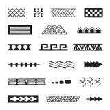 Polynesian tattoo indigenous primitive art. Vector black monochrome ink hand drawn native polynesian folk art symbols stroke patterns birds net, tuna, cord, nuqa Stock Photos