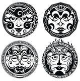 Polynesian tattoo masks Stock Images