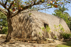 Polynesian tent. A polynesian tent stands quietly to whisper a history story Royalty Free Stock Image
