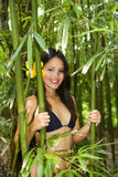 Polynesian woman in a bamboo forest Stock Photography