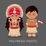 Polynesians in national dress with a flag. stock illustration