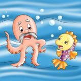 The polyp and the fish. Colored illustration of a polyp and a fish Royalty Free Stock Photos