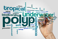 Polyp word cloud. Concept on grey background Royalty Free Stock Photo