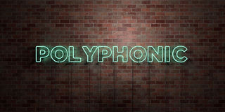 POLYPHONIC - fluorescent Neon tube Sign on brickwork - Front view - 3D rendered royalty free stock picture Stock Photography