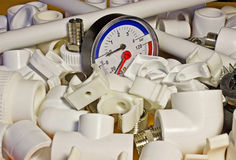 Polypropylene fittings and pressure gauge Royalty Free Stock Photos