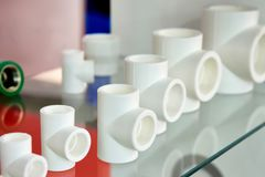 Polypropylene fittings in shop Stock Photo