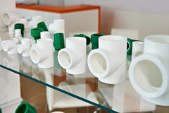 Polypropylene fittings in shop Stock Photos