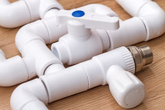 Polypropylene parts for plumbing Royalty Free Stock Photo