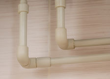 Polypropylene pipe installed in the wall Royalty Free Stock Photos