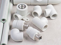 Polypropylene pipes and accessories Stock Photo