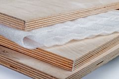 Polypropylene sheet on plywood Stock Photos