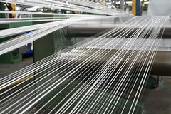 Polypropylene tape making line. A polypropylene tape making line royalty free stock photography