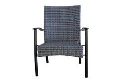 Polyrattan im Freien, das den Stuhl lokalisiert auf weißem Hintergrund speist Lizenzfreies Stockbild