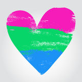 Polysexual pride flag in a form of heart Stock Images