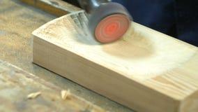 Polyshing drewniana deska elektrycznym narzędziem zdjęcie wideo