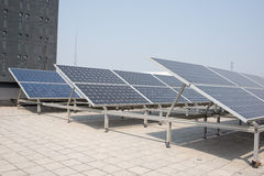 Polysilicon board. Small-scale solar power generation equipment on the roof Stock Image