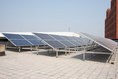 Polysilicon board. Solar panel on the roof. Power Industry Stock Images