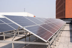Polysilicon board. Solar panel on the roof. Power Industry Royalty Free Stock Image