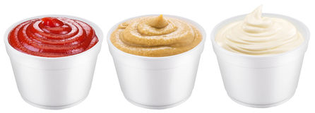 Polystyrene cups with different sauces. Stock Photo
