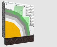 Polystyrene wall insulation 3d scheme. 3D layered scheme of exterior wall insulation using polystyrene or styrofoam panels for thermal isolation Royalty Free Stock Photos