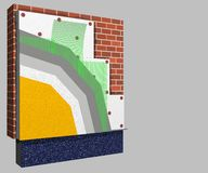 Polystyrene wall insulation 3d scheme. 3D layered scheme of exterior wall insulation using polystyrene or styrofoam panels for thermal isolation Stock Image