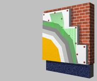 Polystyrene wall insulation 3d scheme. 3D layered scheme of exterior wall insulation using polystyrene or styrofoam panels for thermal isolation Royalty Free Stock Image
